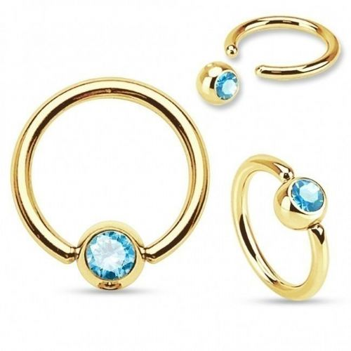 Gold Plated Ball Closure Ring with Aqua Gem Ball